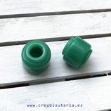 Abalorio grande 11mm de resina, tubo, verde, agujero 5mm (10 unidades) P42