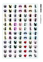 84 Imágenes de gráficos de gatos sobre color 18x18mm