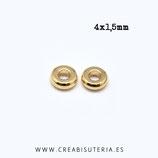 Entrepieza dorada - DO1- X - latón - donuts 4x1,5mm mini dorado P8513 (25 unidades)