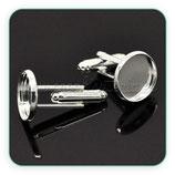 Gemelos 14 mm de cabuchón plateados GEM-C17288