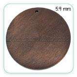 Madera colgante círculo plano grande madera oscura 59mm  C27929  (4unidades)