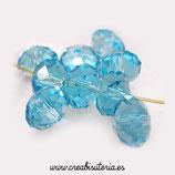 Abalorios -  Cristal facetado azul lago 6x8mm  (70 unidades) C853