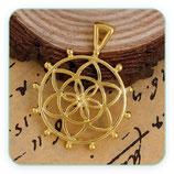 Colgante Espiritual - Flor de la vida dorado anilla triangular  trasversal - C0081099