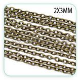 Cadena sencilla bronce antiguo fina 2x3mm (10m) C08983