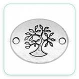 Conector Espiritual 2 - 019 - árbol de la vida oval horizontal  plateado CON-R30728 (10 unidades)