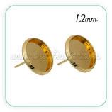 Pendiente camafeo Botón Dorado 12mm  ACCBAS-C083954  (5 pares)