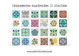 Lámina 24  Imágenes ornamentos cuadrados II 20x20mm