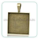 Camafeo cuadrado bronce antiguo 25mm liso CAMBAS-C14144 (2 unidades)