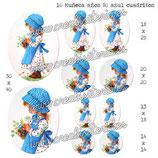 Imagen 10 muñeca años 80 azul cuadritos