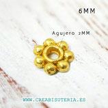Entrepieza dorada - flor disco plana 6x1,3mm - DO1-  P0116M (200 piezas aprox.)