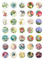 35 Imágenes vintage de flores 30x30mm
