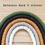 Abalorio arcilla Katsuki polimérica redondo plano 6,5mm (380/400 unidades apro) pack  tonos marrones/verde oliva