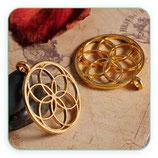 Colgante Espiritual - Flor de la vida dorado anilla trasversal - C77167