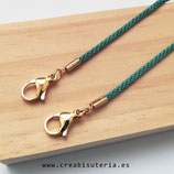 Producto acabado - Cordón para mascarilla verde azulado  terminal dorado de acero inoxidable AD037