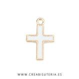 COLGANTE  - Religión - cruz mini dorada esmaltada 17x11mm (10 unidades) C24