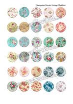 30 imágenes estampados florales vintage III 30x30mm