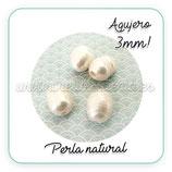 Abalorio Perla natural irregular agujero 3mm  (10 unidades)
