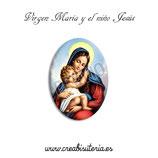 Cabuchón Cristal Religión - Virgen María y el Niño Jesús