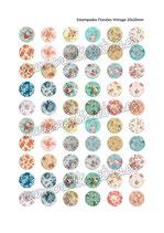 60 imágenes estampados florales vintage III 20x20mm
