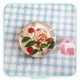 Cabuchón Cristal estampado Tarta de Fresa M002 Blanco y hojas verdes
