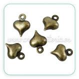 Charm minicorazón de cobre libre de cadmio bronce viejo 9x6mm (20 unidades)49