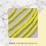 Abalorios -  Cristal facetado  3x2mm color amarillo sólido P13533