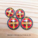 Cabuchón Cristal Religión - Cruz San Benito  - 4 unidades