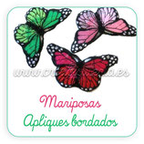 Apliques de tela bordada Mariposa