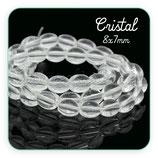 Abalorio cristal ovalado transparente 8x7mm( tira de 48 abalorios aprox) ABAL-Cristal 27170