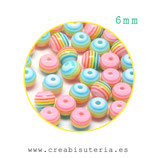 Bolsita  abalorios de resina redondos,  colores arcoíris  6mm  agujero 1mm  C45609 (50 unidades)