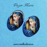 Cabuchón Cristal Religión - Virgen María - azul
