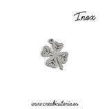 INOX - Charm Trébol de la Suerte 4 hojas acero inoxidable mediano con dibujo