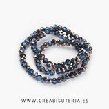 Abalorios -  Cristal facetado  4x3mm color azul marino electrochapado P03411  (145 piezas aprox.)