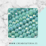 Abalorios -  Cristal facetado  4mm color turquesa aperlado electrochapado  P13003 (100 piezas)