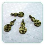 Charm Espiritual - espiral doble bronce viejo CHAOOO-R0038b (10 unidades)