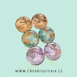 Cabuchón ilustrado - Globo terraqueo/ Mapa mundi  3 Pares de  3 modelos vintage