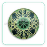Cabuchón Cristal ilustrado Mandala tonos verde claro vivo