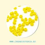 Abalorios -  Cristal de colores rocalla efecto esmerilado 3mm amarillo  45gr AM010