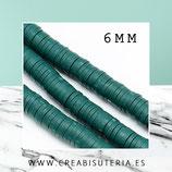 Abalorio arcilla Katsuki polimérica redondo plano  6mm (330 unidades apro) verde malaquita