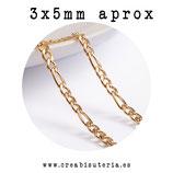 INOX - Cadena eslabón mediano sólido estilo fígaro, dorado INOX 3/5x3,2mm (1 metro) P05G