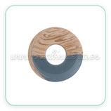 Colgante Resina Aro - Pieza redonda hueca  sin agujeros. Imitación madera y azulgris  C792 (2 unidades)