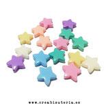 Abalorios estrellas colores  pastel 14mm P4318 - 50 unidades