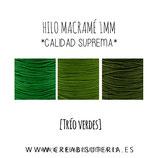 """Cordón macramé 1mm  Calidad Suprema """"TRIO VERDES"""" 15m"""