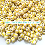 Abalorios -  Cristal de colores rocalla bicolor  Amarillo y Blanco 4/3,5mm  20gr YRP41D