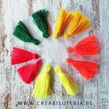 Adorno Borla pequeña MIX Tropical, amarillos, rojo y verde - 5 pares