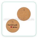 Etiquetas Kraft marrón HAND MADE  redondas pequeñas 20mm (50 unidades) VAR-C10556