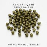 Entrepieza BOLA BRONCE-  FACETADA MINI bronce viejo 3,5mm agujero 1mm (1000 piezas)  C71