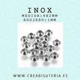 INOX - Accesorios - Bola bicono  4x2mm INOX5204 (20 unidades)