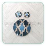 Cabuchón Cristal estampado conjunto retro azules y gris rombos new*   30+12+12