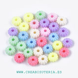 Abalorio acrílico flor donut estriada colores pastel 10mm  mix  P9675 (40 unidades)